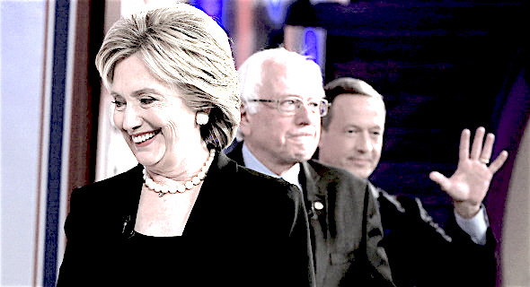 Democratic presidential candidates Hillary Rodham Clinton, Bernie Sanders and Martin O'Malley take the stage during a Democratic presidential primary debate, Saturday, Nov. 14, 2015, in Des Moines, Iowa. (AP Photo/Nati Harnik)