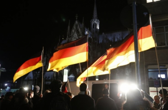 Pegida supporters rally outside Cologne cathedral in January 2015
