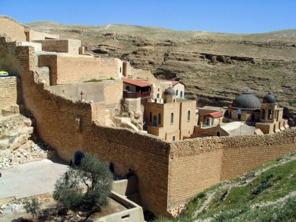 Wall at Mar Saba Orthodox monastery in the Holy Land