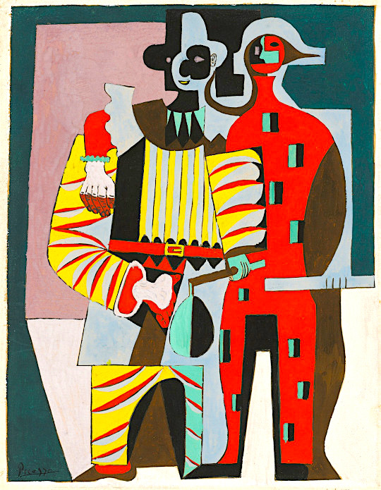 Pablo Picasso Pierrot and Harlequin, Juan-les-Pins, 1920 pen and black ink with gouache on cream paper sheet (folded in half): 27.3 x 21.3 cm (10 3/4 x 8 3/8 in.) National Gallery of Art, Washington, Gift of Mrs. Gilbert W. Chapman, 1981