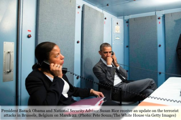 President Barack Obama Speaks With Homeland Security Advisor Lisa Monaco
