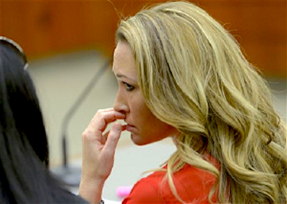 Brianne Altice listens to the testimony during a preliminary hearing in 2nd District Court in Farmington, Utah. (Leah Hogsten/The Salt Lake Tribune via AP, Pool, File)