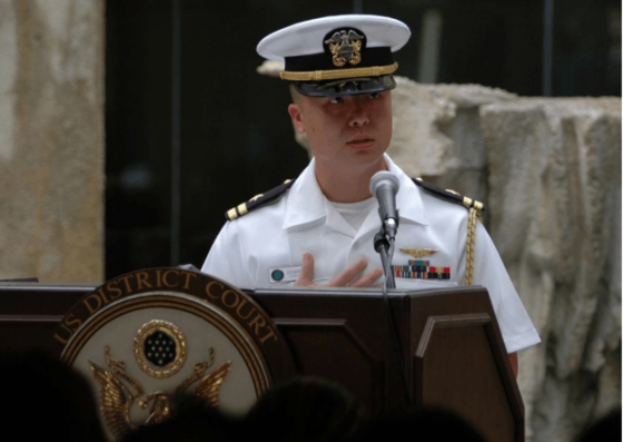 Then-Lt. Edward Lin speaking at 2008 U.S. naturalization ceremony in Hawaii. US Navy Photo