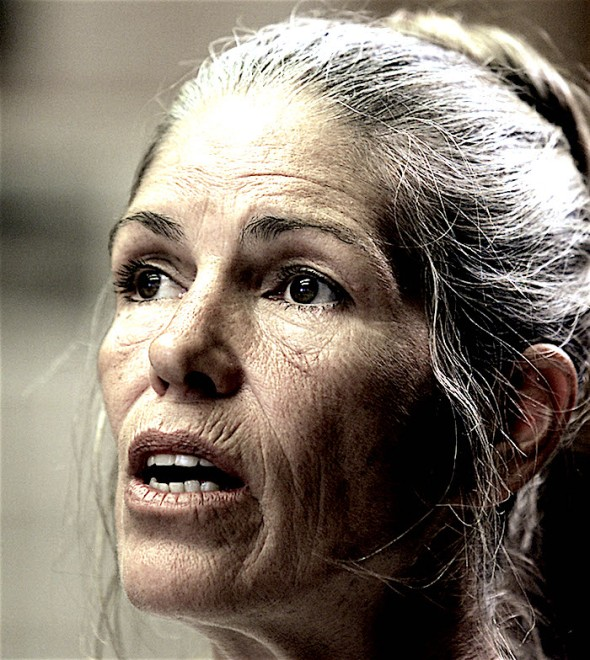 "Leslie Van Houten listens during her parole hearing in Corona, California, June 28, 2002. A California state parole board said Van Houten, 52, who has spent 30 years in prison for one of the most shocking killing sprees in U.S. history, should not be paroled because of the ""calculated pre-planned manner"" of her crime. - RTXLCMK"