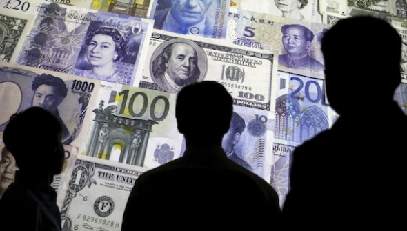 Picture illustration of people silhouetted against a backdrop projected with the picture of various currencies of money