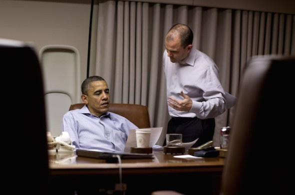 May 1, 2012 - Air Force One - President BARACK OBAMA works on his address to the nation with BEN RHODES, Deputy National Security Advisor for Strategic Communication, aboard Air Force One before landing in Afghanistan. President Barack Obama marked the anniversary of Osama bin Laden's death with a speedy trip to Afghanistan, signing a strategic pact with Kabul on Wednesday and delivering an election-year message to Americans that the war is winding down. Shortly after arriving under the cover of darkness, Obama and Afghan President Hamid Karzai signed a strategic partnership agreement at the Afghan leader's palace that sets out a long-term U.S. role in Afghanistan, including aid and advisers..(Credit Image: © Pete Souza/The White House/ZUMAPRESS.com) (Newscom TagID: zumaamericasfive761628.jpg) [Photo via Newscom]