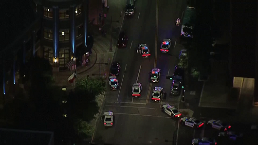 A view of the downtown Dallas area from the KXAS/NBC news helicopter, as police swarm the area.
