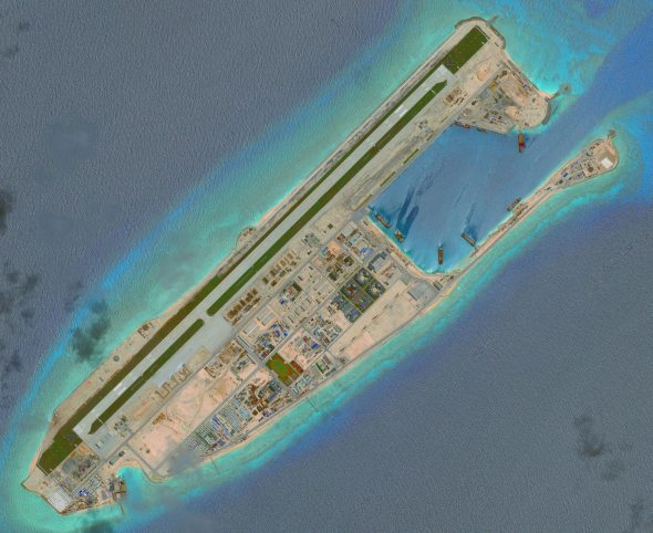 DigitalGlobe overview imagery from June 3rd, 2016 of the Fiery Cross Reef located in the South China Sea. Fiery Cross is located in the western part of the Spratly Islands group. Photo DigitalGlobe via Getty Images.
