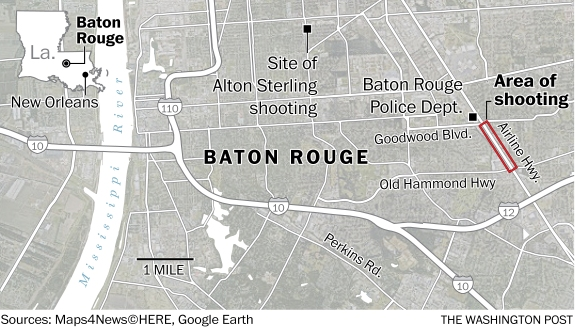 Location of latest Baton Rouge shooting