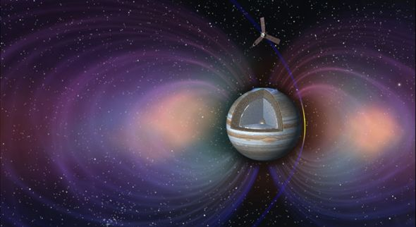 Artist's concept of Juno sweeping through Jupiter's powerful magnetic field. Image: NASA/JPL-Caltech