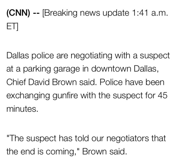 UPDATE: Dallas Police Negotiating with a Suspect in a