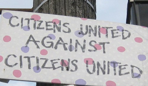 A sign during a protest against the Citizens United decision in Portland, Oregon. Credit: Flickr/lance_mountain
