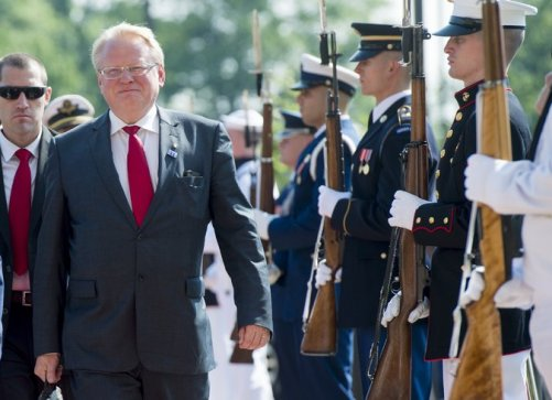 Sweden's defense minister, Peter Hultqvist, last month at Joint Base Andrews in Maryland. He has tried to counteract disinformation that has threatened to sway public debate in Sweden about a proposed military partnership with NATO. Saul Loeb/Agence France-Presse — Getty Images
