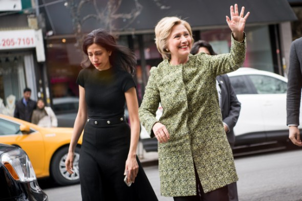 Clinton and Abedin in Queens. Photo: Getty Images