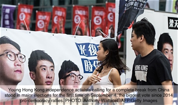 Pedestrians walk past a banner for new party Youngspiration showing disqualified candidate Edward Leung (L) and Baggio Leung (C) during the Legislative Council election in Hong Kong on September 4, 2016. Young Hong Kong independence activists calling for a complete break from China stood in major elections for the first time on September 4, the biggest vote since 2014 pro-democracy rallies. / AFP / Anthony WALLACE (Photo credit should read ANTHONY WALLACE/AFP/Getty Images)