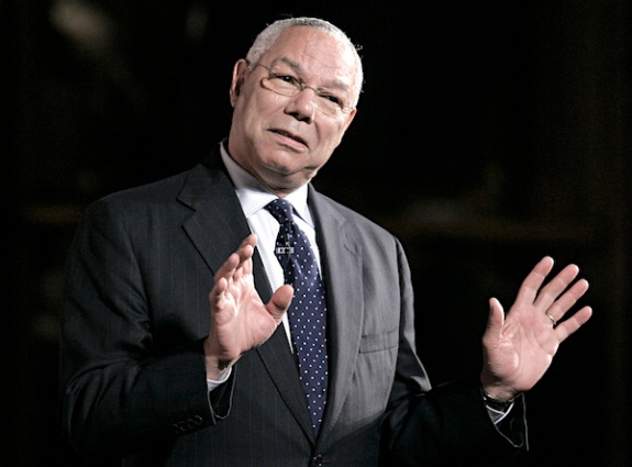FILE -- In this July 1, 2008 file photo, former Secretary of State Colin Powell speaks in Providence, R.I., (AP Photo/Steven Senne, File)