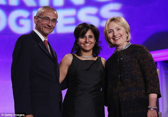 Jennifer Palmieri, Clinton's current campaign communications director, forwarded news of  an investigation into Weiner's contacts with a 17-year-old Delaware girl to John Podesta and Neera Tanden (pictured left and center, respectively, with Clinton) in 2011