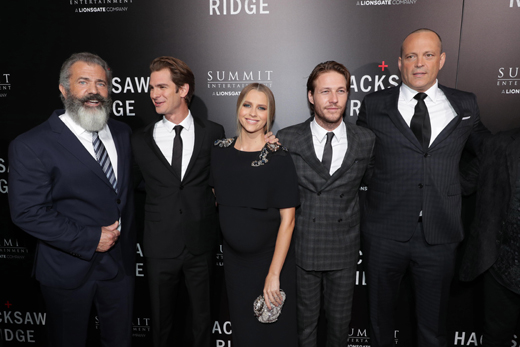 "Director Mel Gibson, Andrew Garfield, Teresa Palmer, Luke Bracey and Vince Vaughn seen at Summit Entertainment, a Lionsgate Company, Los Angeles Special Screening of ""Hacksaw Ridge"" at The Academy's Samuel Goldwyn Theater on Monday, Oct. 24, 2016, in Beverly Hills, Calif. (Photo by Eric Charbonneau/Invision for Lionsgate/AP Images)"