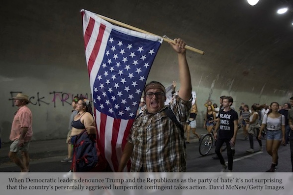 LOS ANGELES, CA - NOVEMBER 12: Protesters pass through a tunnel as the march in reaction to the upset election of Republican Donald Trump over Democrat Hillary Clinton in the race for President of the United States on November 12, 2016 in Los Angeles, California, United States. Hundreds of Angelenos have been arrested in recent days and some have vandalized property but the vast majority of the thousands of protesters have remain peaceful. (Photo by David McNew/Getty Images)