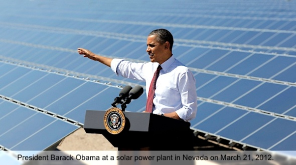 President Barack Obama speaks at Copper Mountain Solar 1 Facility in Boulder City, Nev.,Wednesday, March, 21, 2012. (AP Photo/Pablo Martinez Monsivais)