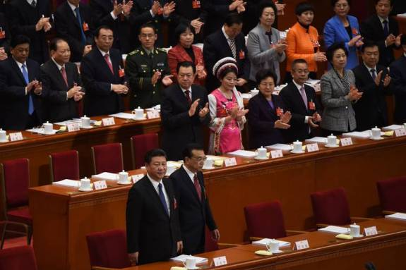 Chinese President Xi Jinping, left, and Premier Li Keqiang arrived for the opening session of the National People's Congress in March.