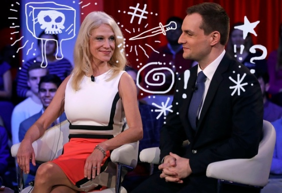 Kellyanne Conway, Trump-Pence campaign manager, left, looks towards Robby Mook, Clinton-Kaine campaign manager, prior to a forum at Harvard University's Kennedy School of Government in Cambridge, Mass., Thursday, Dec. 1, 2016. (AP Photo/Charles Krupa)