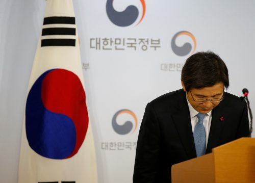 South Korean Prime Minister and the acting President Hwang Kyo-ahn bows after releasing a statement to the nation at the Goverment Complex in Seoul, South Korea, December 9, 2016.