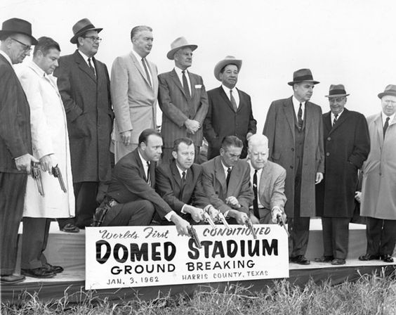 ASTRODOME - DOMED STADIUM GROUNDBREAKING JAN. 3, 1962, HARRIS COUNTY TEXAS. NO IDs ON THE MEN. HOUCHRON CAPTION (08/04/2002): At the 1962 groundbreaking, civic leaders eschewed shovels in favor of Colt. 45s. HOUCHRON CAPTION (08/16/2003): At the January 1962 groundbreaking ceremony for the Harris County Domed Stadium, civic leaders eschewed shovels in favor of Colt 45s.