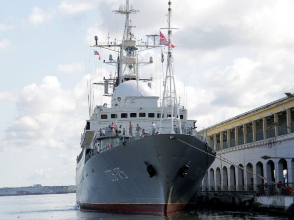 Serena Marshall/ABC News The Russian spy ship Viktor Leonov CCB-175 is parked at a Havana port as the US starts talks Cuba, Jan. 21, 2015.