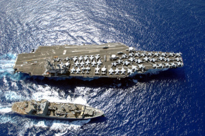 Nimitz-class aircraft carrier USS Ronald Reagan with ammunition ship USNS Flint. Wikimedia Commons/U.S. Navy.