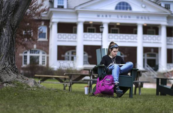 students at Plymouth State University in New Hampshire showed extensive progress in critical thinking over four years, as measured by a test called the CLA+. Above, Kate Frederick, a sophomore. Photo: Cheryl Senter for The Wall Street Journal