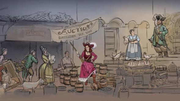 An artist's rendering of the scene that will replace the bride auction in the Pirates of the Caribbean ride. (Walt Disney Co.)