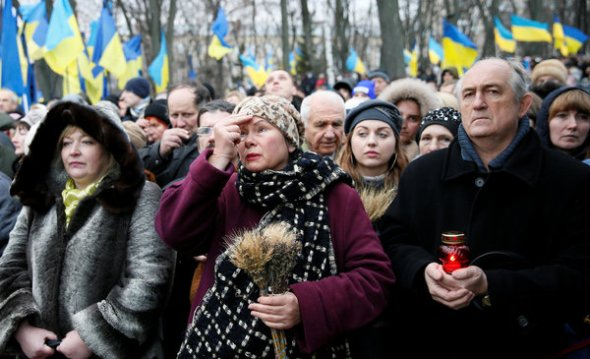 People gathered to honor Stalin's victims at a ceremony in Kiev, Ukraine, last year. Valentyn Ogirenko / Reuters