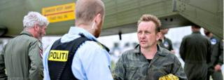 Reuters Peter Madsen, right, shortly after he was brought ashore on 11 August