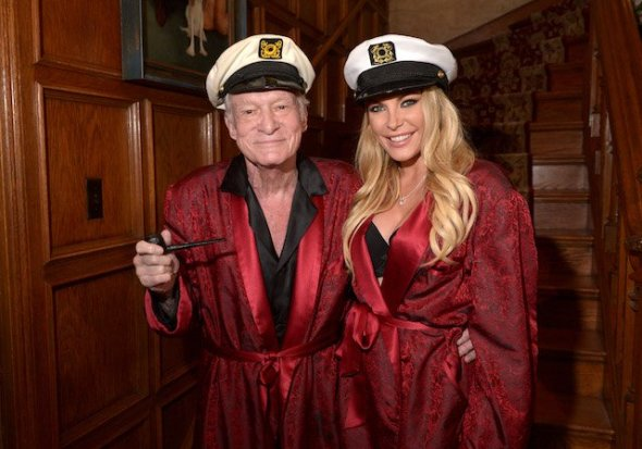 Hugh Hefner and Crystal Hefner attend Playboy Mansion's Annual Halloween Bash at The Playboy Mansion on October 25, 2014 in Los Angeles. (Photo by Charley Gallay/Getty Images for Playboy)