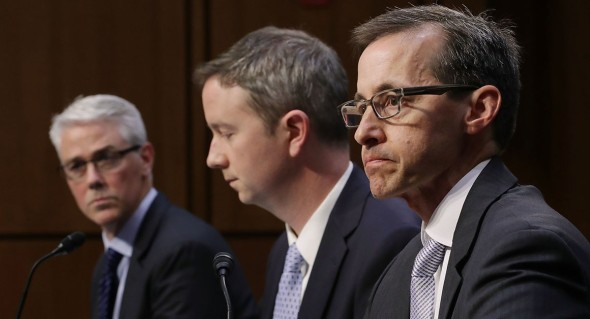 Facebook General Counsel Colin Stretch, Twitter Acting General Counsel Sean Edgett and Google Law Enforcement and Information Security Director Richard Salgado testify before the Senate Judiciary Committee's Crime and Terrorism Subcommittee on Capitol Hill on Oct. 31. | Chip Somodevilla/Getty Images