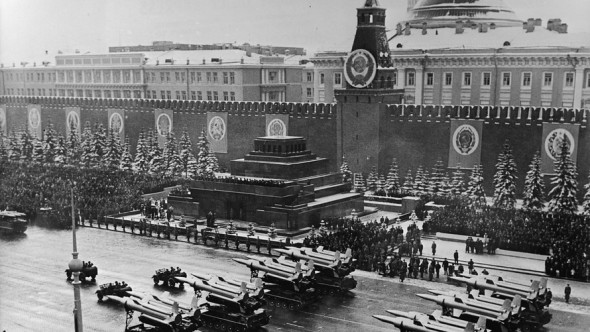 Anti-aircraft missiles on parade as they are led past Lenin's Tomb en route to the saluting base in Red Square to celebrate the anniversary of the Bolshevik Revolution.