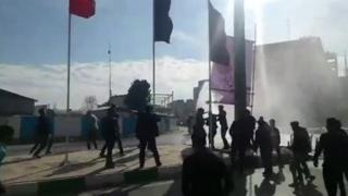 Footage posted on social media showed street protests in Kermanshah