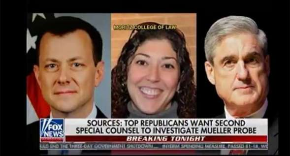 Former FBI officials Peter Strzok, Lisa Page, and Special Counsel Robert Mueller. Image via YouTube.