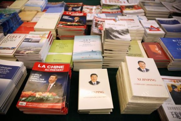 Reuters Magazines and books are seen at the media center during the National People's Congress in Beijing on March 7.
