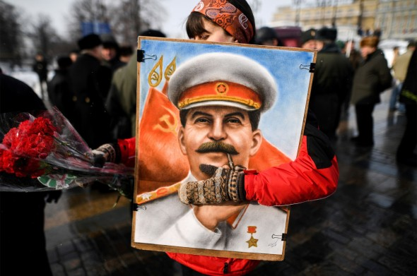 Russian Communist Party supporters attend a memorial ceremony March 5 in Red Square to mark the 65th anniversary of Soviet leader Joseph Stalin's death.