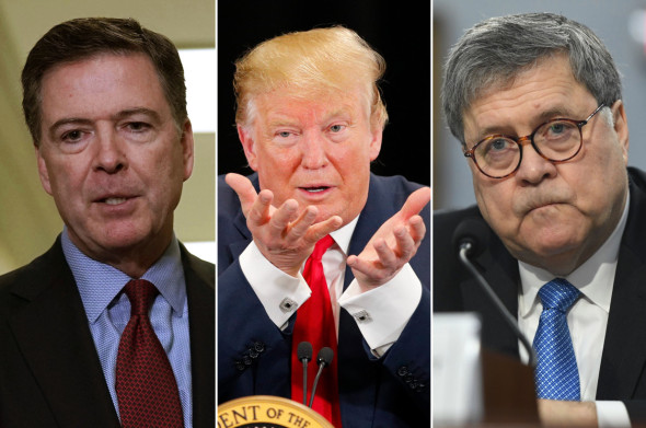 James Comey (from left), Donald Trump and William Barr Getty Images